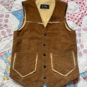 70s 100% leather suede vest